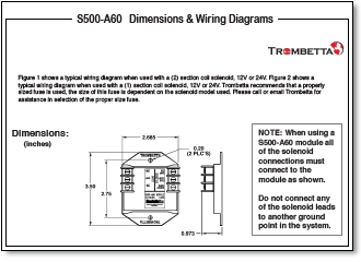 trombetta s s500 a50 a60 and a70 are solid state electronic dimensions wiring diagrams
